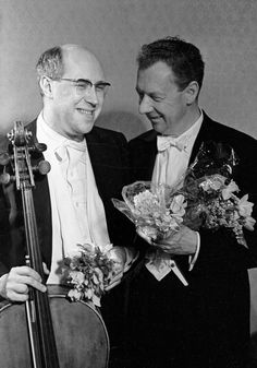 Mstislav Rostropovich and Benjamin Britten after a concert in the Moscow Conservatory, 1964. Mikhail Ozerskiy.