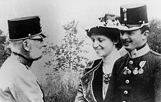 Emperor Franz Joseph with Karl, the heir to the throne, and Zita, photograph