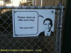 """Best """"pick up the poop"""" sign ever."""