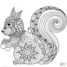 Lovely Squirrel Zentangle Coloring Page
