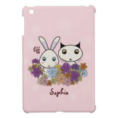 Cute Bunny and Kitten Personalized Pink iPad Mini Cases and Covers for Girls: BFF - Best Friends Forever: Bff Cases, Cute Cases, Phone Cases, Ipad Mini Cases, Ipad Case, Ipad 1, Best Friends Forever, Cute Bunny, Kitten