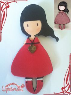 Broche plano Gorjuss by upendi,s, via Flickr Dress Up Dolls, Paper Dolls, Fiber Art, Projects To Try, Diy Crafts, Christmas Ornaments, Holiday Decor, Fabric, Fun
