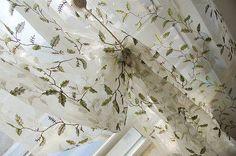 茜茜李 外单出口成品美式乡村田园绣花树叶窗帘窗纱纱帘 芭比