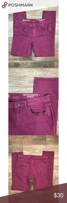 "Madewell 28 Skinny Skinny Ankle Raspberry Jeans Madewell women's jeans ""Skinny Skinny Ankle"" style size 28 Raspberry red-purple in color EUC!  length - 36 inches waist laying flat - 15.5 inches inseam - 28 inches Madewell Jeans Skinny"