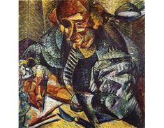 """Futurismo - U. Boccioni, 1882-1916, Calábria, Itália. Foi um pintor e escultor, contribui muito para levar a polêmica """"anticultural"""" do futurismo no âmbito das artes plásticas. A sensação dinâmica é o principal valor de sua arte, ação que se traduz na pintura pela prática das técnicas neo-impressionistas, associadas aos princípios do Cubismo. No campo da escultura procurou solucionar todos os aspectos da forma dinâmica na linguagem tridimensional, estudou de forma intensiva o movimento do…"""