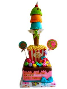 This is awesome! Sweet Carnival Cake by ArtyliciousCakes on Cakes Decor Baby shower cake Cake Candy Cakes, Cupcake Cakes, Carnival Cakes, Carnival Ideas, Carnival Birthday Parties, Different Cakes, Colorful Candy, First Birthday Cakes, Occasion Cakes