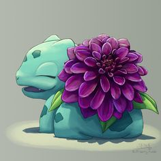 Dahlia Bulbasaur, brought to you in association with my 3DS battery running out so I was forced to take a break from playing Sun to draw her