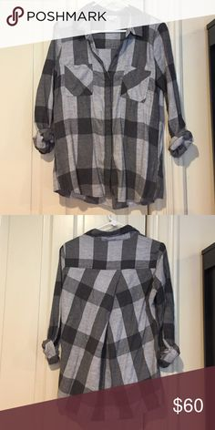 Splendid Plaid Shirt *NWOT* Love the crossover back detail on this crazy soft plaid shirt from Splendid!!! Neutral Grey tones for Fall. Never been worn. Splendid Tops Button Down Shirts