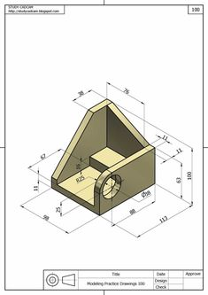 Ölçülendirilmiş Perspektif Resim Örnekleri | Makine Eğitimi Autocad Isometric Drawing, Isometric Drawing Exercises, Isometric Shapes, Mechanical Engineering Design, Mechanical Design, Cad 3d, Orthographic Drawing, Solidworks Tutorial, Interesting Drawings