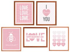 Valentine's day is just around the corner!  Put a little extra love in your decor with these free printable 8x10 art prints in 5 sweet mix-and-matchable designs.  Simply print, trim, and display - either all together, or spread the love around different rooms in your home!