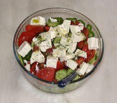 Greek salad - -3 – 4 tomatoes 1 onion feta cheese 1 cucumber olive oil salt olives oregano