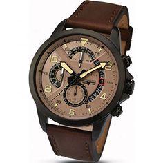 Accurist 7053,01 - Reloj de cuarzo para hombres, color marrón-PREFERIDO-