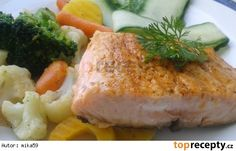 Losos na másle s opečenou zeleninou. No Salt Recipes, Meat Recipes, Healthy Recipes, Fish And Meat, Workout Programs, Ham, Mashed Potatoes, Chicken, Cooking