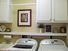 laundry room - shelf for extra storage and help keep things from falling back there, curtain rod to hang wet/dry laundry on