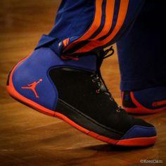 Carmelo Anthony wearing Jordan Melo 1.5 Knicks Away