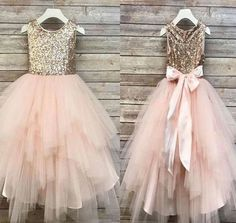 Sequin Top Flower Girl Glam Dress Blush, Rose Gold/ Champagne and Ivory Gold Sequin Top Dress Rose Gold Sequin Top Dress Big Bow princess wedding dresses sweetheart strapless neckline detached sleeves full lace Blush Flower Girl Dresses, Tulle Flower Girl, Tulle Flowers, Pink Tulle, Flower Girls, Girls Gold Dress, Rose Gold Bridesmaid, Blush Bridesmaid Dresses, Wedding Dresses