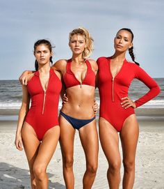 Alexandra Daddario, Kelly Rohrbach and Ilfenesh Hadera on the set of the 2017 Baywatch Movie