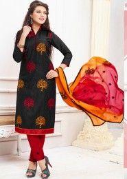 Daily Wear Black Cotton Resham Work Salwar Kameez