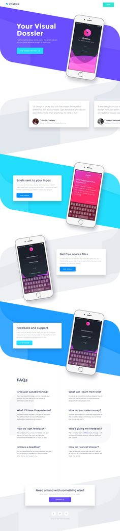 Colorful, vibrant Landing Page for 'Vossier' - a fun new way to learn and improve UI design. Fits a big screen well and like how they pulled the devices out the mobile adaption to reduce page length.