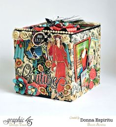 Love this altered box using Couture by Donna Espiritu! A stunning example of brilliant upcycling! #graphic45