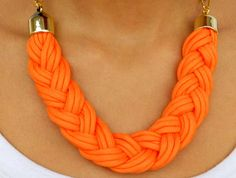 Orange Paracord Necklace by LaShellJewellery on Etsy, £13.00