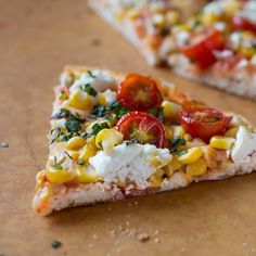 Grilled Cherry Tomato, Corn, and Goat Cheese Pizza - totally making this tonight (with homemade dough!) So excited! :D