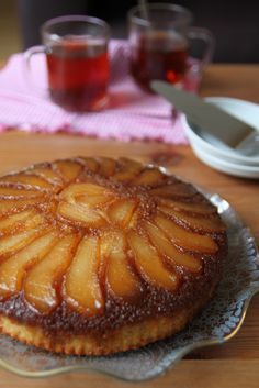 Monsoon Spice | Unveil the Magic of Spices...: Caramel Pear (Upside Down) Cake – A Guest Post by Nisha @ Look Who's Cooking Too Pear Dessert Recipes, Pear Recipes, Just Desserts, Sweet Recipes, Delicious Desserts, Cake Recipes, Yummy Food, Indian Recipes, Desserts With Pears