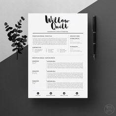 "4page Resume Template / CV Template Pack + Cover Letter for Word + icon set | Instant Digital Download | The ""Ink"""