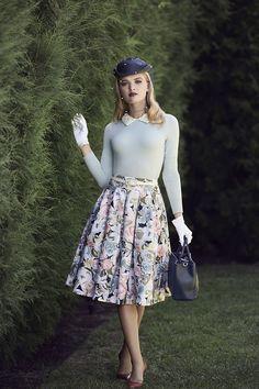 The Abigail Jumper, Royal Garden Skirt, & Sage Bag