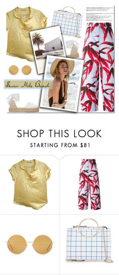 """""""How to Style a Yellow Silk Top with White Espadrilles and Floral Print Pants for Travel to Seven Mile Beach in Grand Cayman this Summer"""" by outfitsfortravel ❤ liked on Polyvore featuring Sandro, Marni, Acne Studios, Future Glory Co., Manebí and Balmain"""