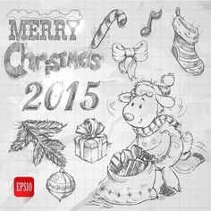 Hand drawn Christmas 2015 sheep year elements vector 02