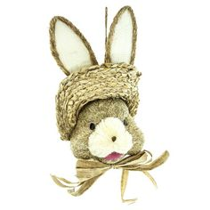 """Sisal Bunny Head Size: 20"""" Whimsical natural color bunny head made of sisal and decorated with a hat and bow.  Arriving soon!"""