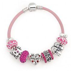 Sterling Pink Best Friend Heart Friendship Bead Bracelet Fits Pandora