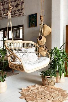 Adorable Rattan Hanging Chair Design Ideas - Home Design - lmolnar - Best Design and Decoration You Need Hanging Furniture, Rattan Furniture, Furniture Design, Hanging Chairs, Outdoor Hanging Chair, Chair Design, Furniture Ideas, Garden Hanging Chair, Furniture Stores
