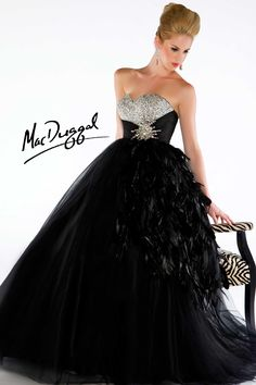 Black Ball Gown Accented with Feathers mcduggal 6374H