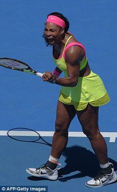Serena Williams shouts during her women's singles match against Vera Zvonareva