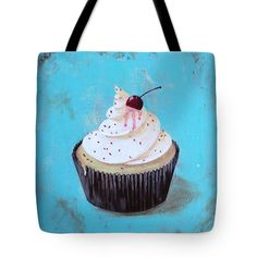 WITH A CHERRY ON TOP Tote Bag for sale by T Fry-Green. $26.00 The tote bag is machine washable, available in three different sizes, and includes a black strap for easy carrying on your shoulder.  All totes are available for worldwide shipping and include a money-back guarantee. #cupcake #icing #vanillaicing #vanilla #vanillacupcake #blue #cherry #withacherryontop #sprinkles #fashionbag #tfrygreenart #tfrygreen #homeatlaststudio #art #original #tote #toteart #fineartamerica
