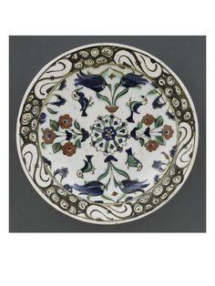 Plat à la rosace et aux 4 oiseaux  - Musée national de la Renaissance (Ecouen)