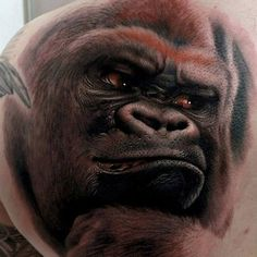 Discover the largest living primate among the forest with these top 100 best gorilla tattoo designs for men. Knuckle walk your way to manly great ape ideas. Amazing 3d Tattoos, Best 3d Tattoos, Tattoos 3d, Monkey Tattoos, Bild Tattoos, Animal Tattoos, Cool Tattoos, Hidden Tattoos, Classy Tattoos