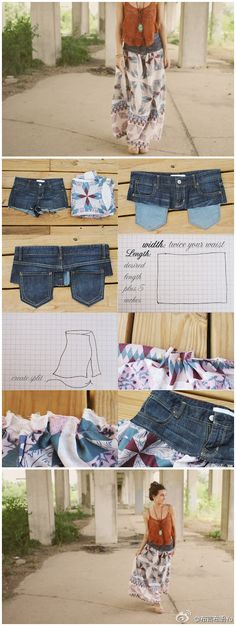 DIY jeans refashion: DIY Upcycle Old Jeans you could even use the top of a jean skirt that is ratty at the bottom. Diy Maxi Skirt, Maxi Skirt Tutorial, Maxi Skirts, Flowy Skirt, Shirt Skirt, Jean Skirts, Frilly Skirt, Shorts Tutorial, Denim Skirts