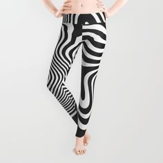 'Melt Down' leggings by LLL Creations.  This design is available in many different products.    #society6 #society6_products #LLLCreations #blackandwhite #leggings