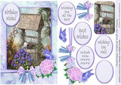 Hydrangea Wishing Well A5 Topper on Craftsuprint - Add To Basket!