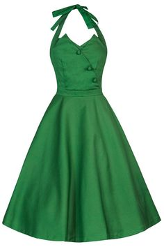 Lindy Bop Women's 'Myrtle' Classy Vintage 1950's Halter Neck Flared Swing Party Dress at Amazon Women's Clothing store: Green Vintage Halter Dress