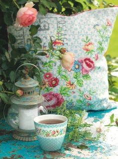 The Little Things in Life I Love: I really like the colors in the pillow, lantern and coffee cup from GreenGate