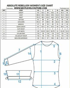Nextlevel present to you Absolute Rebellion women designer shirts fitment guide chart. We welcome you to use our size chart to aid in finding the correct ladies designer shirt size Shirt Patterns For Women, Dress Shirts For Women, Techniques Couture, Sewing Techniques, Womens Size Chart, Dress Size Chart Women, Baby Size Chart, Dress Sewing Patterns, Clothing Patterns