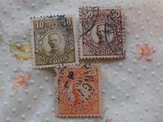 1910-1920 King Gustav V 25, 30, 40 Ore Sverige Cancelled Stamps Sweden Swedish