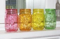Gorgeous DIY Color Mason Jars with Mod Podge
