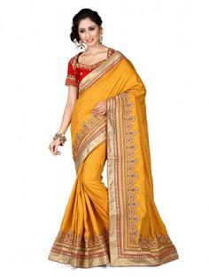 Yellow Silk Saree with Stone Work