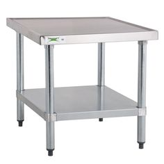 """Support your mixer or a wide variety of other kitchen equipment with the Regency 24"""" x 24"""" stainless steel mixer table! This mixer table features a durable 18-gauge type 304 stainless steel top that's easy to keep clean, and it's capable of supporting up to 700 lb. of evenly distributed weight. Its galvanized steel legs provide the long-lasting reliability you need for your business, and adjustable plastic bullet feet allow you to level your stand on uneven floors for peace ..."""