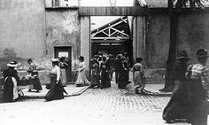 a still from Workers Leaving the Lumière Factory in Lyon, the first film screened for the public by the Lumiére brothers in 1895.